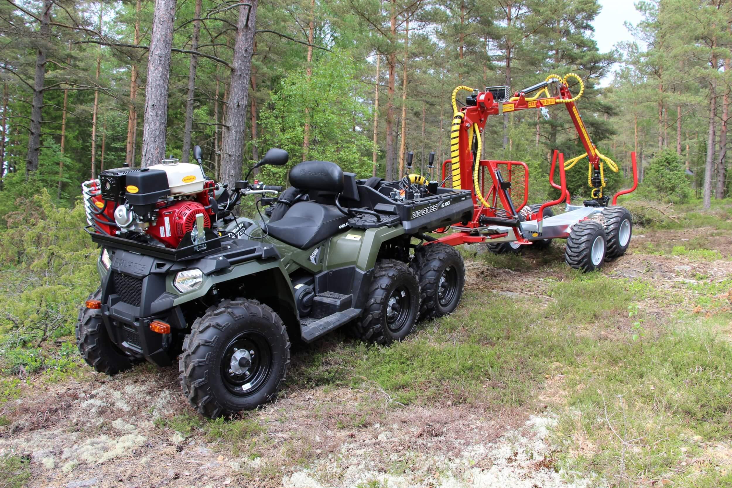 Polaris 6x6 med kranman T1950ex griplastarvagn